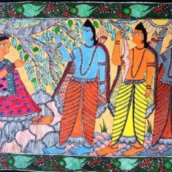 Mithila Painting of Ahilya Episode of Ramayana