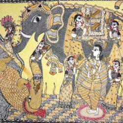 Buy Mithila Painting of Gajendra Moksha