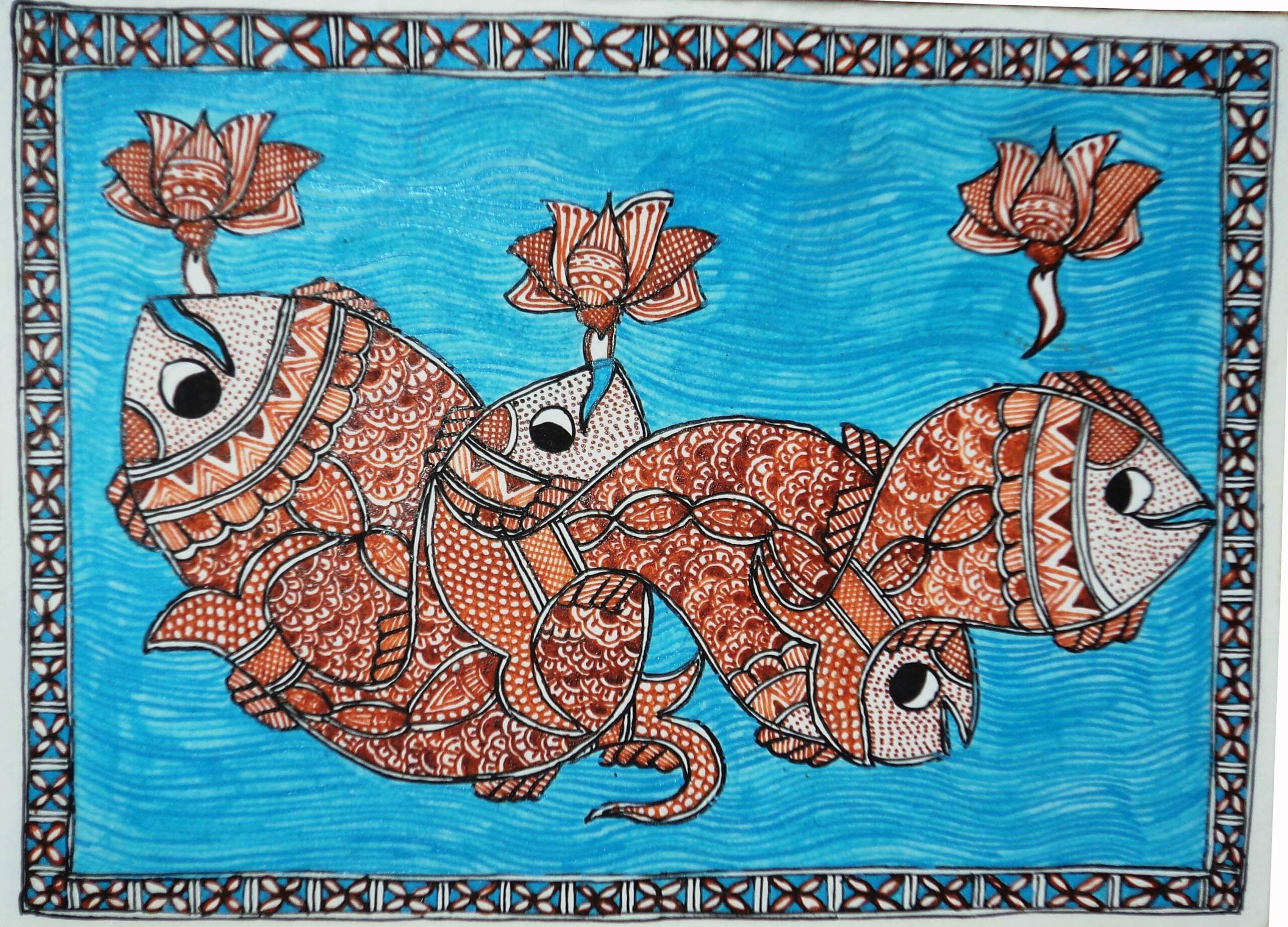 Mithila Painting of Fish in a River
