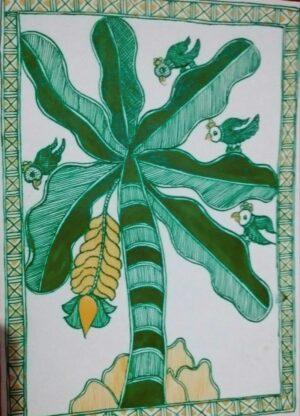 Mithila painting of Banana Plant