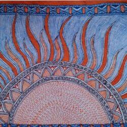 Mithila painting of Sun God Surya