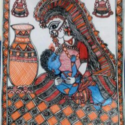 Greeting Card with Mithila Painting Krishna and Yasoda