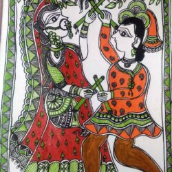 Mithila painting of Couple Playing Dandiya
