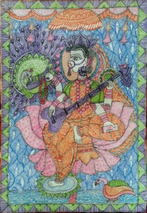 Mithila Painting of Goddess Saraswati