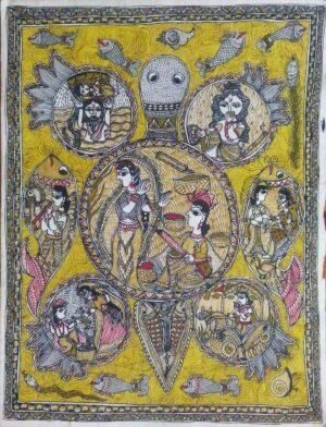 mithila painting of krishna