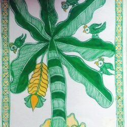 Mithila painting of Banana Plant