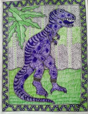 Greeting Card with Mithila Painting of Dinosaur