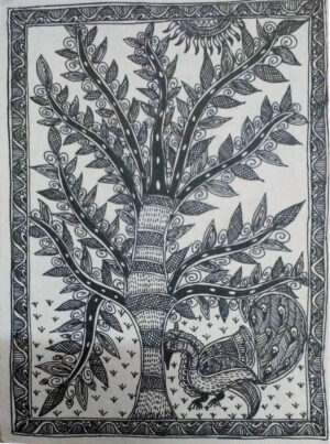 Mithila Painting of a Tree