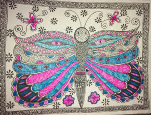 Mithila Painting of a Butterfly