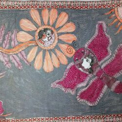Mithila Painting of a Flower and Butterfly