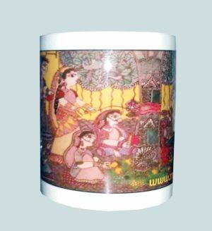 Unique Ceramic Mug with Mithila Painting of Vat Savitri