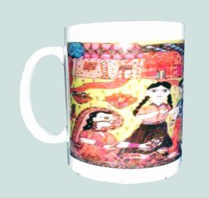 Unique Ceramic Mug with Mithila Painting of Sama Chakewa